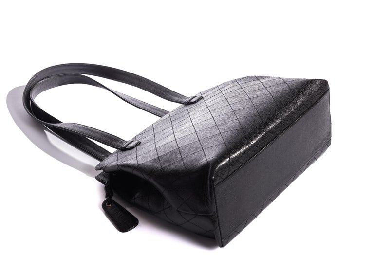 Chanel Black Flat Quilted Caviar Bag For Sale 1