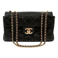 Chanel Black Flat Stitched Leather Flap Bag