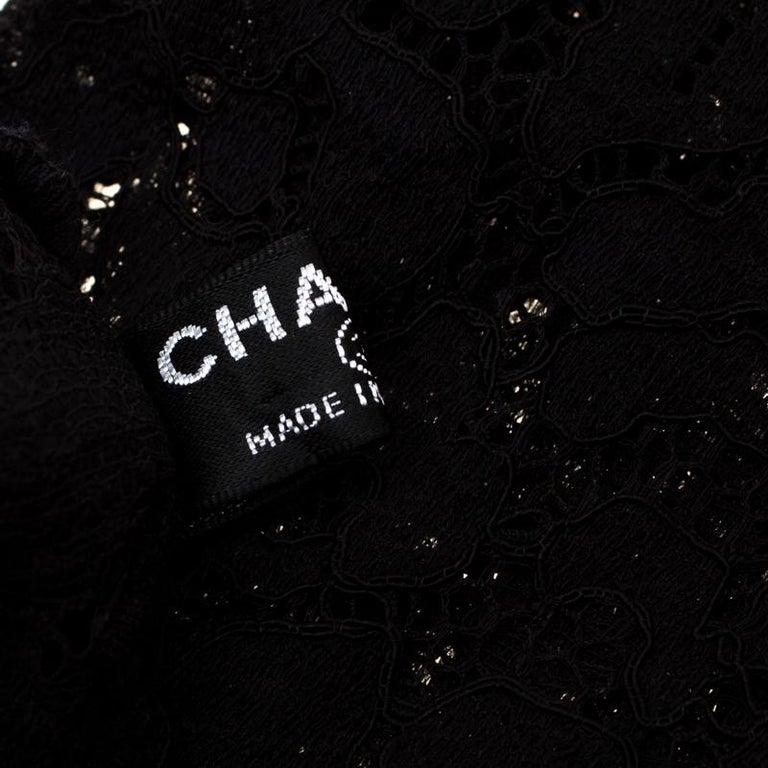 Women's Chanel Black Floral Lace Fingerless Opera Gloves M