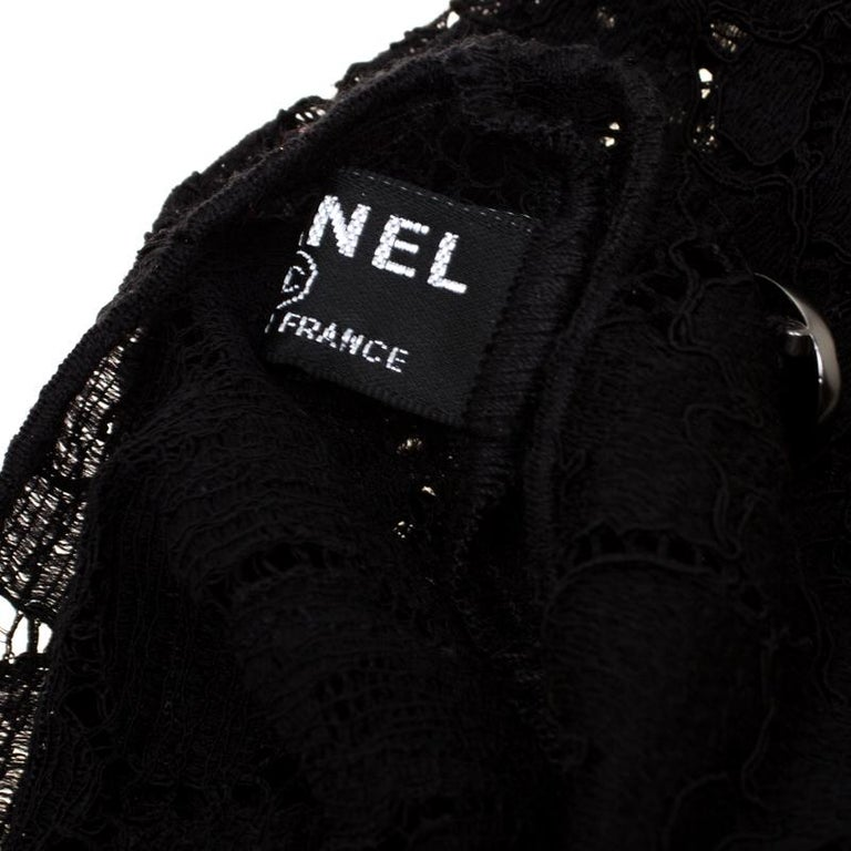 Chanel Black Floral Lace Fingerless Opera Gloves M 1