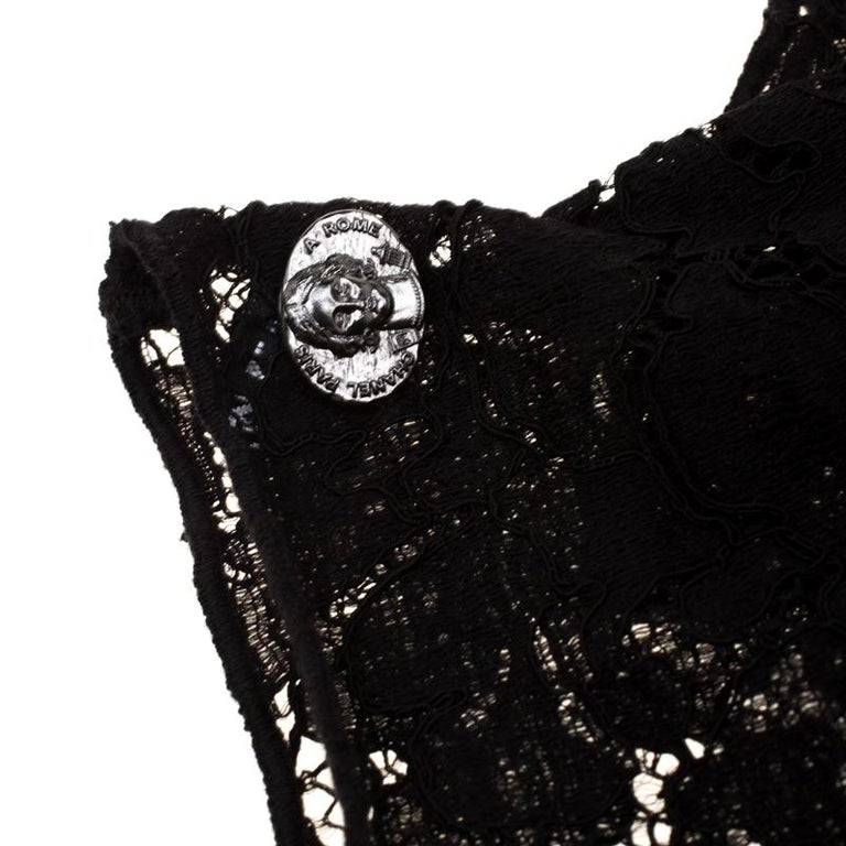 Chanel Black Floral Lace Fingerless Opera Gloves M 2