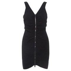 Chanel Black Geometric Patterned Ruched Detail Mini Dress L