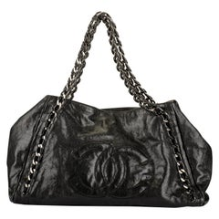 Chanel Black Glazed Chain Large Tote Bag