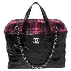 Chanel Black Glazed Distressed Leather And Tweed Soho Portobello Tote Bag