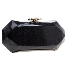 Chanel Black Glitter Leather Crystal Jewel Charm Kiss Lock Minaudière Clutch