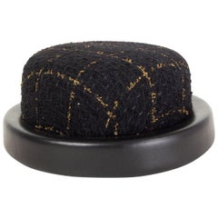 CHANEL black & gold 2016 LEATHER TRIM TWEED RIDING Hat S