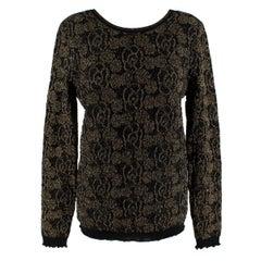 Chanel Black & Gold Camellia Knit Wool Scoop Back Jumper - Size L