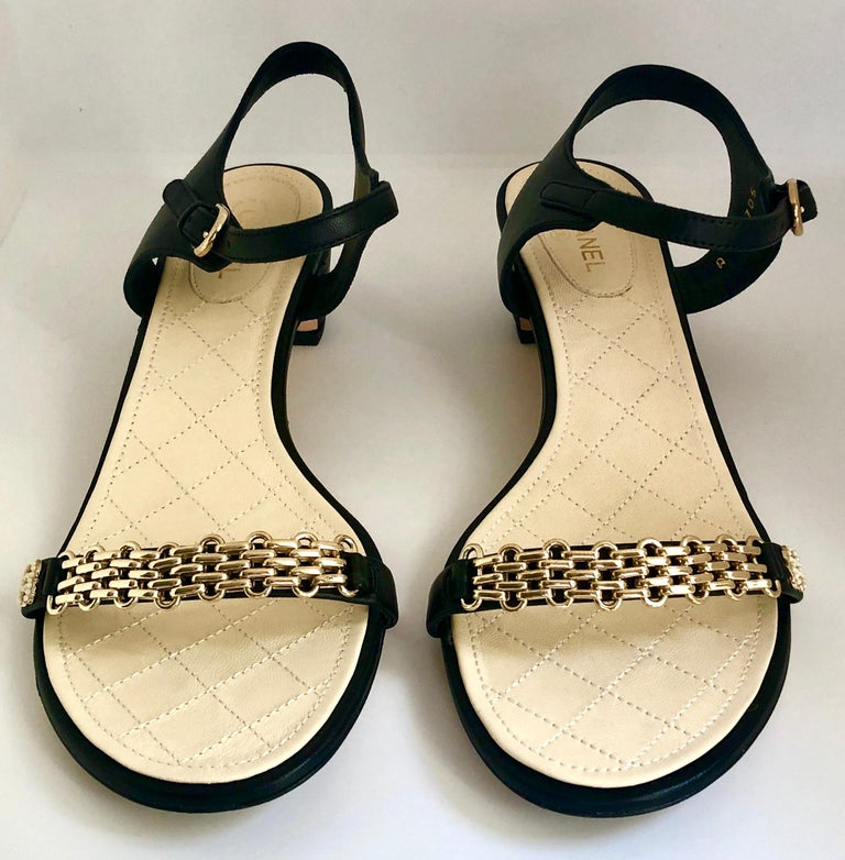 Women's Chanel Black & Gold Chain Link One Strap Sandals w/ Quilted Leather 2