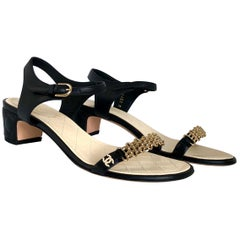 "Chanel Black & Gold Chain Link One Strap Sandals w/ Quilted Leather 2"" Heel"