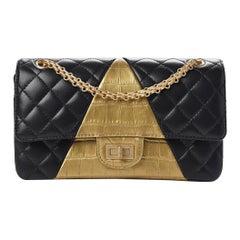 Chanel Black Gold Crocodile Exotic Skin Leather Evening Shoulder Flap Bag