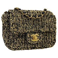 Chanel Black Gold Lame Small Mini Evening Party Shoulder Flap Bag in Box