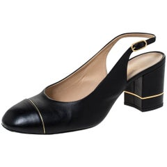 Chanel Black/Gold Leather Slingback Sandals Size 40