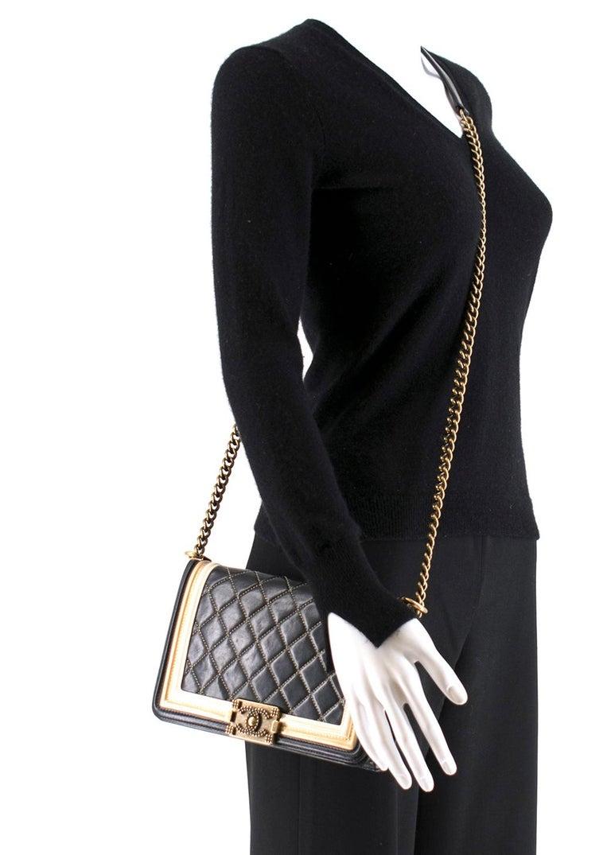Chanel Black & Gold Medium Boy Bag 24cm For Sale 6