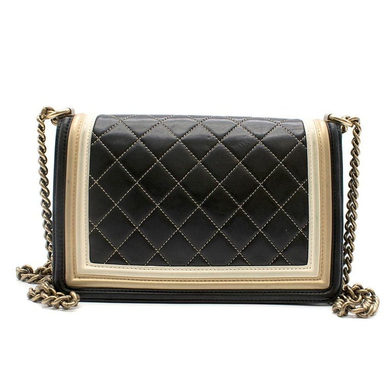 Chanel Black & Gold Medium Boy Bag 24cm In Excellent Condition For Sale In London, GB