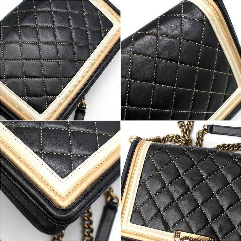 Chanel Black & Gold Medium Boy Bag 24cm For Sale 3
