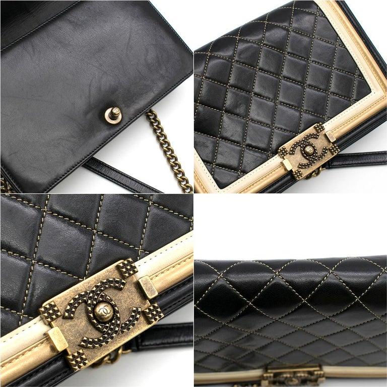 Chanel Black & Gold Medium Boy Bag 24cm For Sale 4