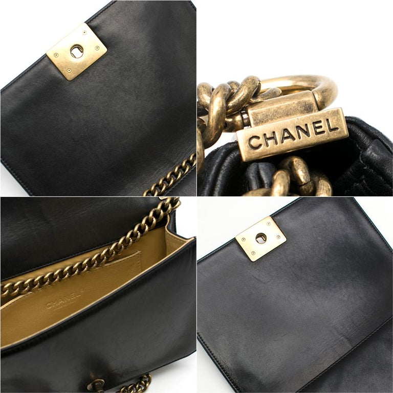 Chanel Black & Gold Medium Boy Bag 24cm For Sale 5