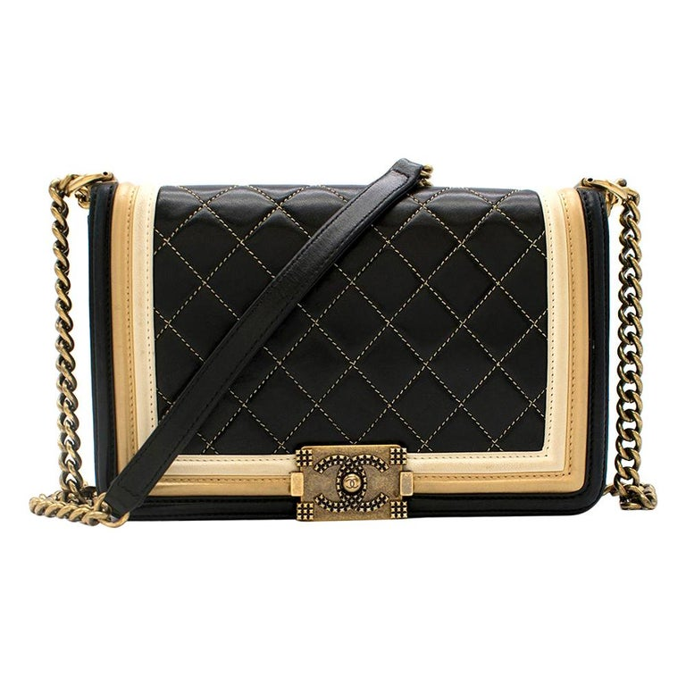 Chanel Black & Gold Medium Boy Bag 24cm For Sale