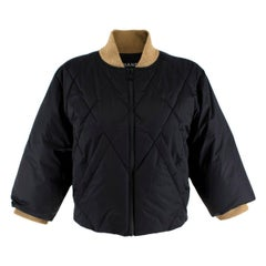 Chanel Black & Gold Nylon Quilted Down Cropped Jacket - Size US 4