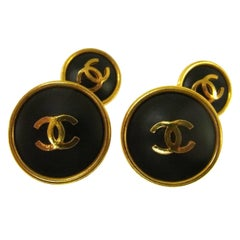 Chanel Black Gold Round Stud Charm Button Men's Women's Suit Cufflinks in Box