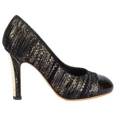 CHANEL black & gold suede PEARL HEEL Pumps Shoes 38.5