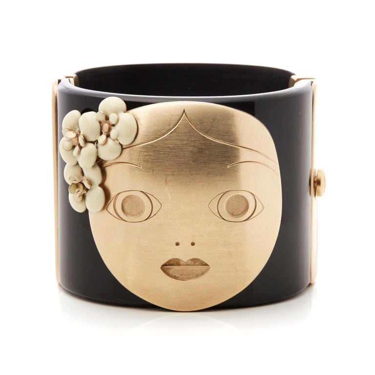 Modern Chanel Black and Gold Tone Matryoshka Doll Cuff Bracelet For Sale
