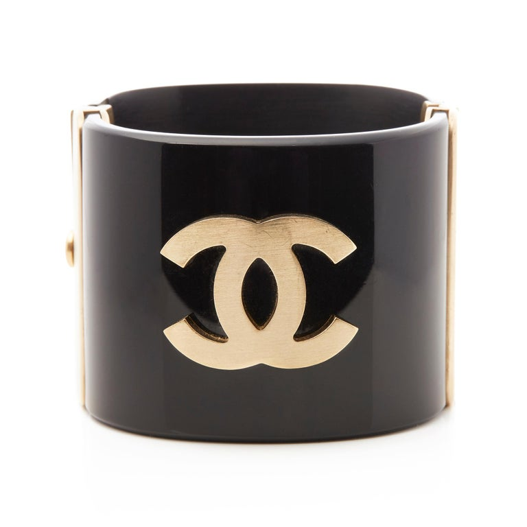 Chanel Black and Gold Tone Matryoshka Doll Cuff Bracelet In Good Condition For Sale In Bishop's Stortford, Hertfordshire