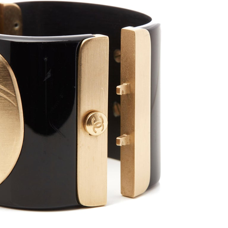 Chanel Black and Gold Tone Matryoshka Doll Cuff Bracelet For Sale 1