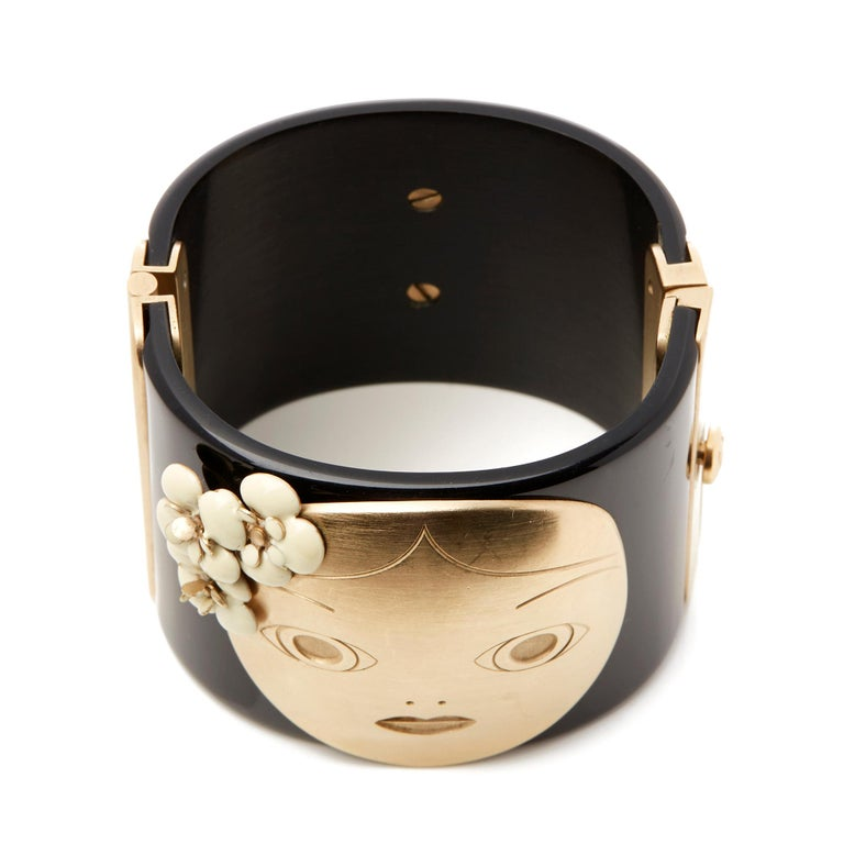 Chanel Black and Gold Tone Matryoshka Doll Cuff Bracelet For Sale 2