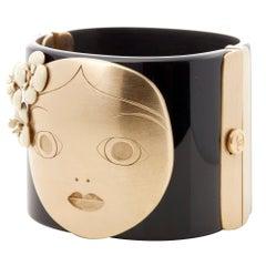 Chanel Black & Gold Tone Matryoshka Doll Cuff Bracelet