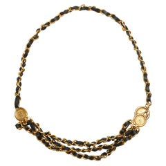 Chanel Black & Gold-Tone Triple Strand Chain Belt