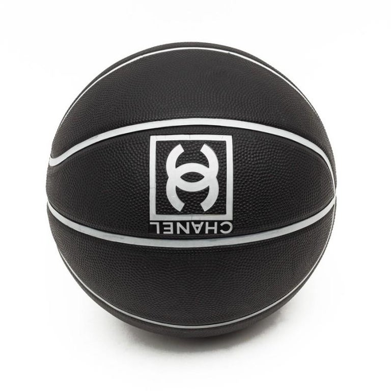 Women's or Men's CHANEL Black Grained Basketball With Gray Stripes For Sale