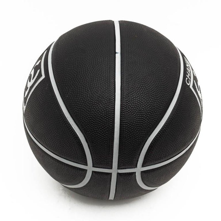 CHANEL Black Grained Basketball With Gray Stripes For Sale 1