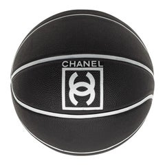 CHANEL Black Grained Basketball With Gray Stripes