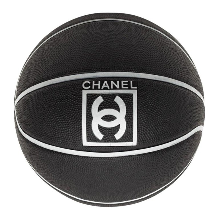 CHANEL Black Grained Basketball With Gray Stripes For Sale