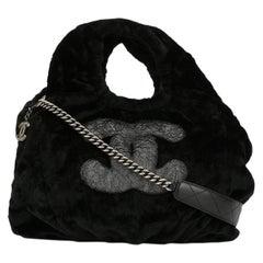 Chanel Black Gray Silver Rabbit Top Handle Satchel Carryall Large Shoulder Bag