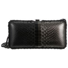 Chanel Black Gray Snakeskin Exotic Leather Small Evening Clutch Shoulder Bag