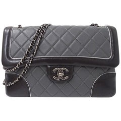 Chanel Black Gray Two Tone Leather Gunmetal Quilted Evening Shoulder Flap Bag
