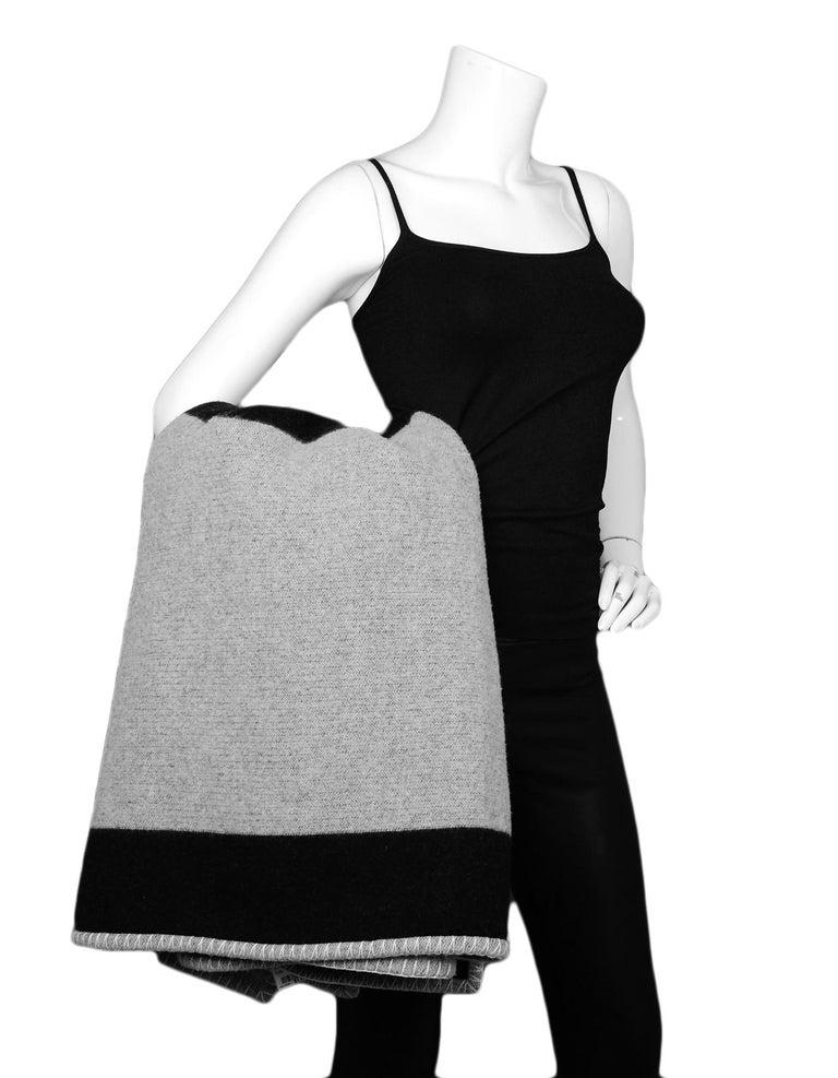 Gray Chanel Black/Grey Merino Wool & Cashmere CC Throw Blanket For Sale
