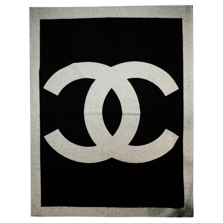 Chanel Black/Grey Merino Wool & Cashmere CC Throw Blanket For Sale