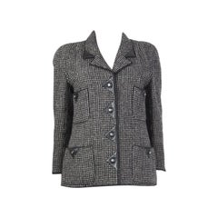 CHANEL black & grey wool Tweed Leather Trimmed Blazer Jacket L