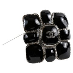 Chanel Black Gripoix CC Flower Pin
