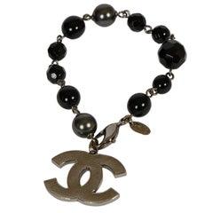 Chanel Black Gripoix Gunmetal Bracelet