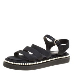 Chanel Black Grosgrain Fabric Faux Pearl Flat Sandals Size 38