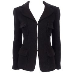 Chanel Black Herringbone Wool 2006 Fall Collection Jacket 40