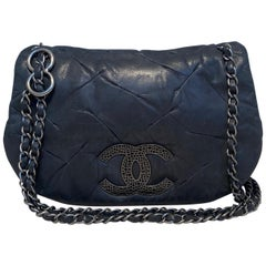 Chanel Black Iridescent Calfskin Glint Accordion Classic Flap