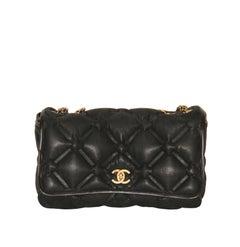 Chanel Black Iridescent Leather Jumbo Chesterfield Bag