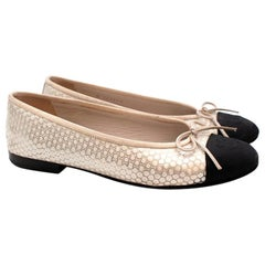 Chanel Black & Ivory Metallic Spotted Ballerina Flats - Size 36.5