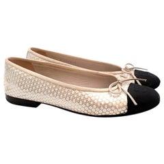 Chanel Black & Ivory Metallic Spotted Ballerina Flats - Size EU 36.5