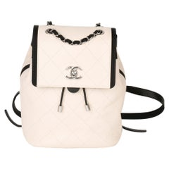 Chanel Black & Ivory Quilted Calfskin Leather Classic Backpack